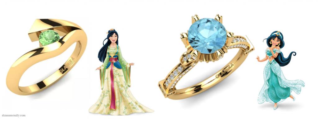 Mulan and Jasmines Engagement Rings